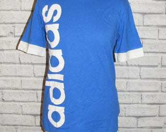 Size 10 vintage 90s Adidas short sleeve loose fit t shirt top royal blue (HQ81)