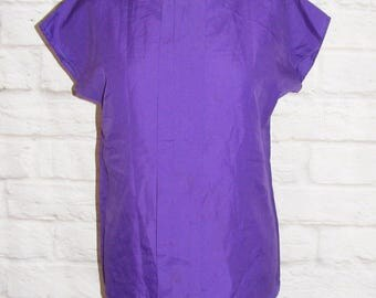 Size 10 vintage 80s blouse pleat front batwing cap sleeve silky purple (HF37)