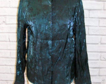 Size 14 vintage 90s long sleeve loose party blouse shimmery green floral (HY10)