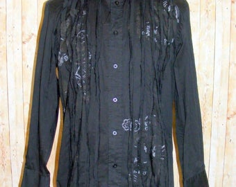 Size L vintage 90s long sleeve going out shirt strips/floral front black (HQ36)