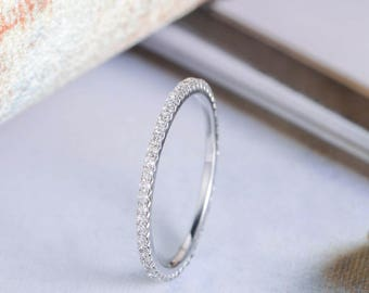 White Gold Diamond Wedding Band Stacking Anniversary Ring Bridal Set Unique Eternity Simple Solitaire Thin Micro Pave Gift For Her