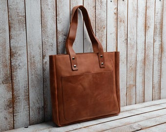 leather tote shopper bag leather tote bag leather handbag leather shopping bag leather shoulder bag brown leather tote bag brown vintage bag