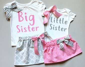 Big sister little sister outfits, sister matching outfits, sisters matching outfits, big sis little sis outfits, skirt, headband, T-shirt,