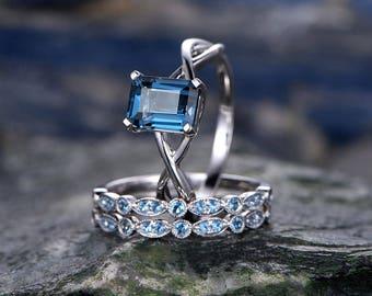 6x8mm emerald cut London Blue topaz engagement ring-Solid 14k white gold--Solitaire Infinity Promise Ring-Split Shak-3pcs topaz wedding set