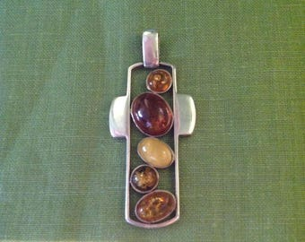 Sterling and Amber Stylized Cross Pendant