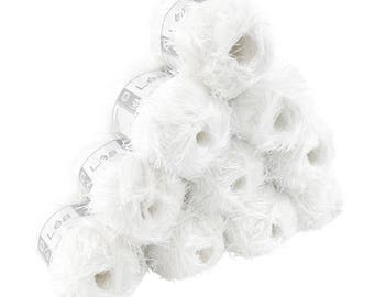 10 x 50 g effect yarn LEA with fringes, #109 white