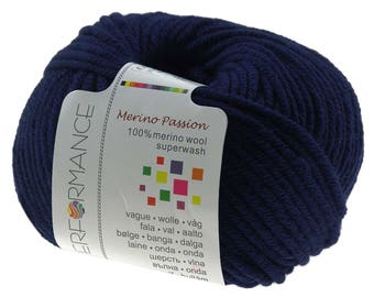 10 x 50 g knitting wool MERINO PASSION blue SUPERWASH, #06