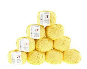 10 x 50 g knitting wool cotton Bay #178 yellow