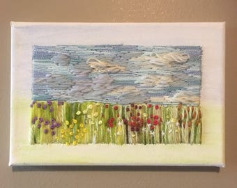 Embroidered prairie landscape, wild flowers, big sky, fluffy clouds modern embroidery hand embroidery landscape art one of kind fibre art