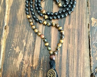 Tiger's Eye 108 Mala; Meditation beads;Prayer Beads; Yoga Jewelry; Root Chakra; Earth Chakra