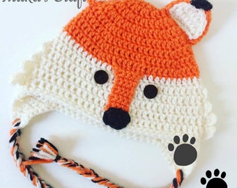Handmade fox crochet hat beanie