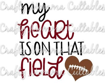 My Heart is on that field SVG file // Baller Mom SVG // Boy Mom Cut File // Ball mom Silhouette File // Mom of boys // FootballSVG file