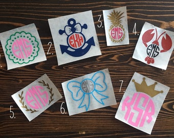 Monogram decal / Monogram Car Decal / Monogram Sticker /Laptop Decal /Yeti Decal /Car Decal