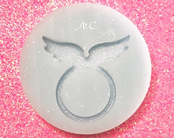 Flexible silicone Ring glossy Angel Wings Cabochon\Stampo