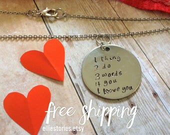 men valentine gift boyfriend husband hand stamped necklace i love you personalize the backside - Valentine Gift For Daughter