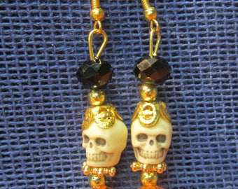 "Orange & black sugar skull earrings ""day od the dead"""