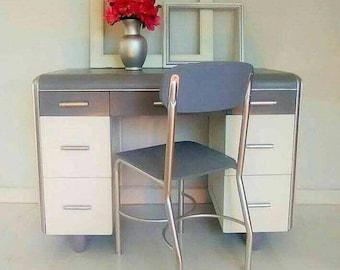 Vintage mid century Art Deco Waterfall Student Desk or Vanity