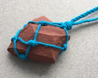 Red Jasper Necklace, Raw Jasper Crystal, Red Jasper Healing Necklace, Stone Necklace, Boho Necklace, Hemp Necklace (62)
