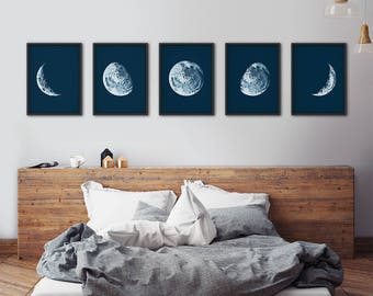 Moon Phases Prints, Moon Phases Set, Moon Prints, Moon Phases Wall Art, Moon Wall Art, Moon Posters, Moon Poster, Wall Decor, Moon Art