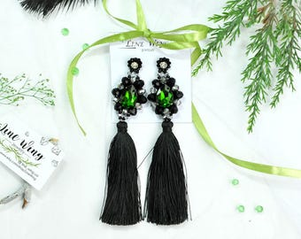 green earring tassel girlfriend for gift green thumb Jewelry Statement Earrings embroidered earring Christmas gift woman xmas jewelry wife