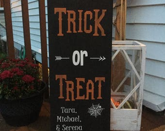 Personalized trick or treat sign