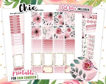 Erin Condren Vertical Planner Stickers Printable, Cherry Blossom, Spring Stickers, Flower Planner Stickers, Floral Planner
