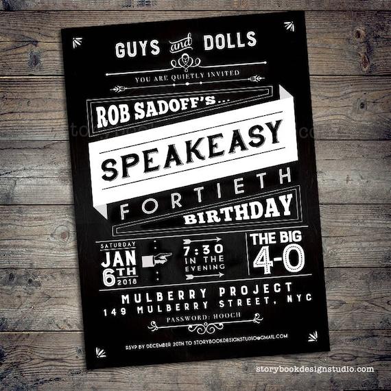 Speakeasy Party Invitations drinks prohibition era underground