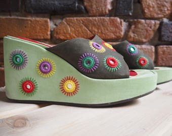 Women's 90s Green And Brown Wedges Mules Shoes Sandals Backless Slip Ons With Rainbow Embroidery And Mirror Detail Size US 7 621