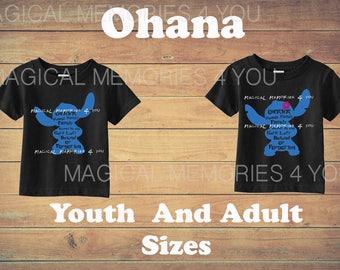Ohana Means Family Shirt, Disney's Stitch inspired shirt, disney shirt, stitch t-shirt, kids stitch shirt, Stitch Family, Ohana shirt