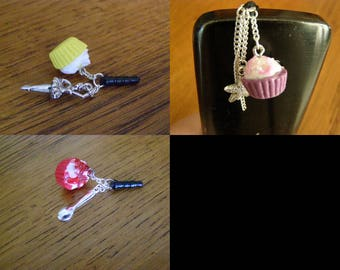 to choose from, plug, dust cover, mobile jewelry, cupcake