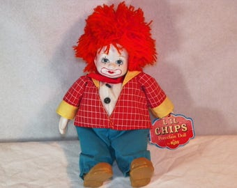 Vintage lil chips doll, by russ, clown doll,Porcelain doll,