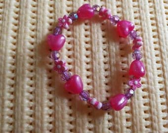 Handmade Girls flower and heart bracelet