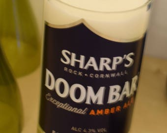 Upcycled, handmade, Soy Wax, Sharps Doom Bar Beer Bottle Candle - A unique gift for that special someone