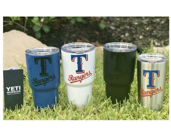 YETI - Authentic TEXAS RANGERS Yeti Cup Mug 20 oz or 30 oz Rambler Tumbler custom unique gift idea for rangers fan Dallas resident present