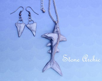 Shark necklace with shark fin earrings