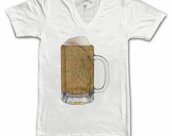 Ladies  San Francisco Map Beer Mug Tee, Vintage City Maps Beer Mug Tees, Beer T-Shirt, Beer Thinkers, Beer Lovers, Cities, Beer Lover Tees