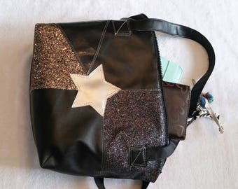 Quilted pleather and glitter handbag