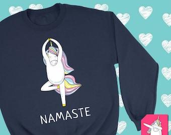 Namaste Yoga Unicorn Ma Crewneck Sweatshirt