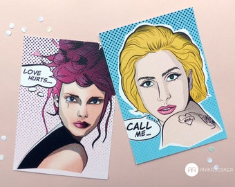 Call me and love hurts postcard set 2ST