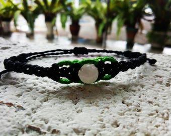 Macrame white agate bracelet