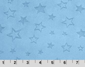 """Embossed Star Cuddle® Baby Blue from Shannon Fabrics, Embossed Cuddle, Minky Fabrics, 100 % Polyester, 58/60"""""""