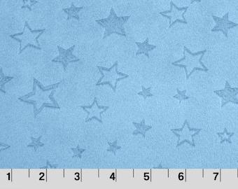 Embossed Star Cuddle Baby Blue, Embossed Minky, Shannon Minky Fabric, Shannon Cuddle Minky, Minky Fabric, Stars Minky, Minky by Yard