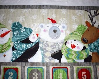 advent calendar, Christmas fabric panel, christmas countdown, quilting Panel, reusable advent calendar,  snowman, penguin, reindeer,