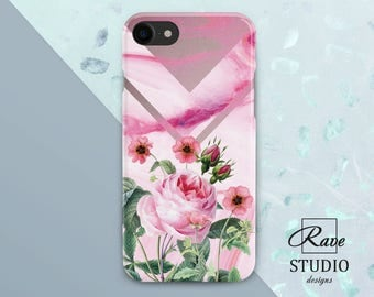 Rose iPhone case iPhone 7 plus marble iPhone case floral Pink marble iPhone 6s marble iPhone X marble Case iPhone 6 Rose iPhone 8 case