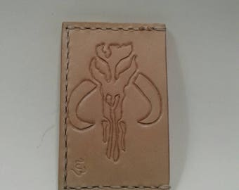 Leather Mandalorian minimalist wallet, hand made in the USA with free shipping