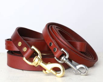 Brown Leather Dog Leash -- Classic Style