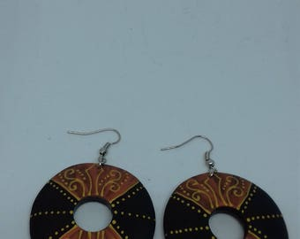 Bali Style wood hand painted earrings