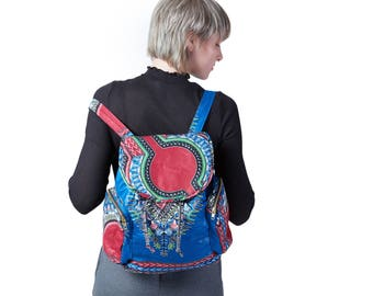 Backpack Dashiki/Angelina print blau E! Nyani