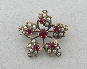 Amazing Victorian Era Solid 10k Yellow Gold Garnet and Seed Pearl Pendant Brooch!