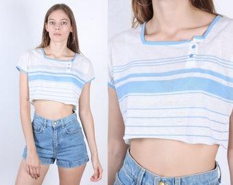 80s Mesh Crop Top // Vintage Jantzen Sheer Striped Cropped Shirt Womens - Medium